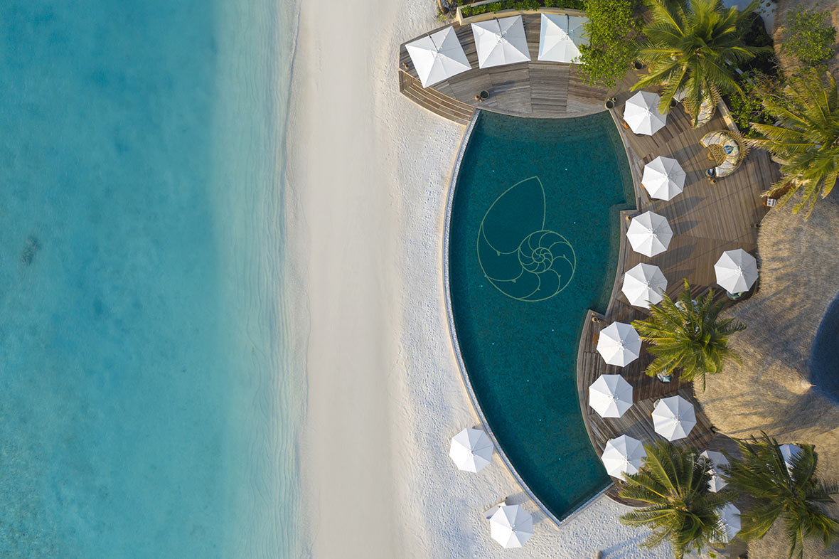 The Nautilus Maldives luxury resort from a bird's eye view