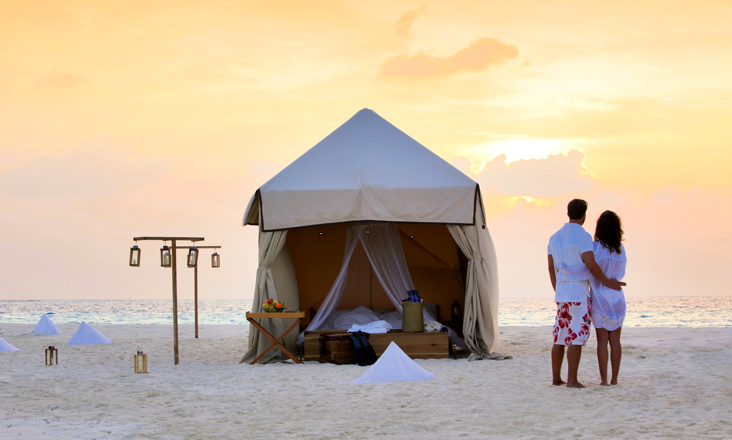 A luxury tent at dawn on the beach